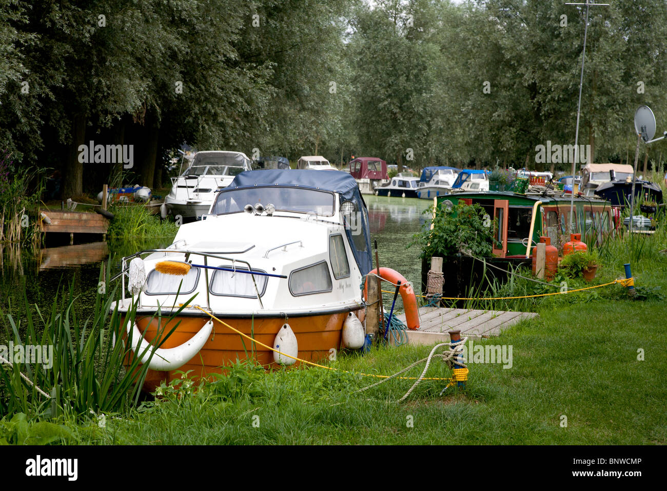 Pleasure boats on the navigation canal in Chelmsford Essex - Stock Image