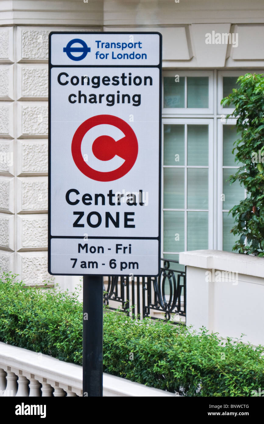Transport for London, Congestion Charging Central Zone road sign, London England - Stock Image