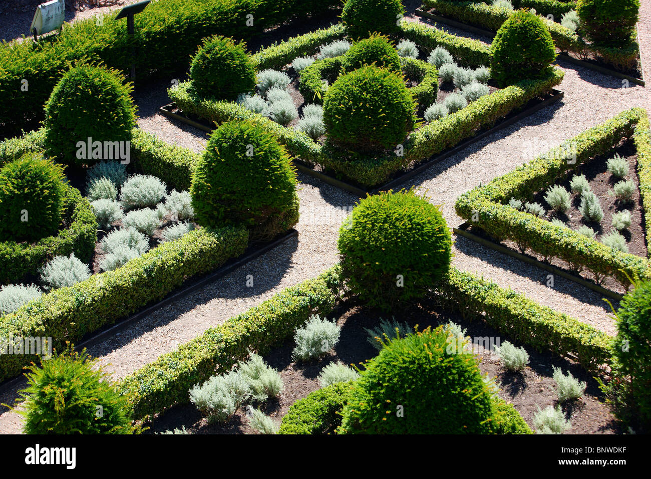 Symmetric garden architecture. Castle Cornet, Guernsey, Channel Islands, UK, Europe. - Stock Image