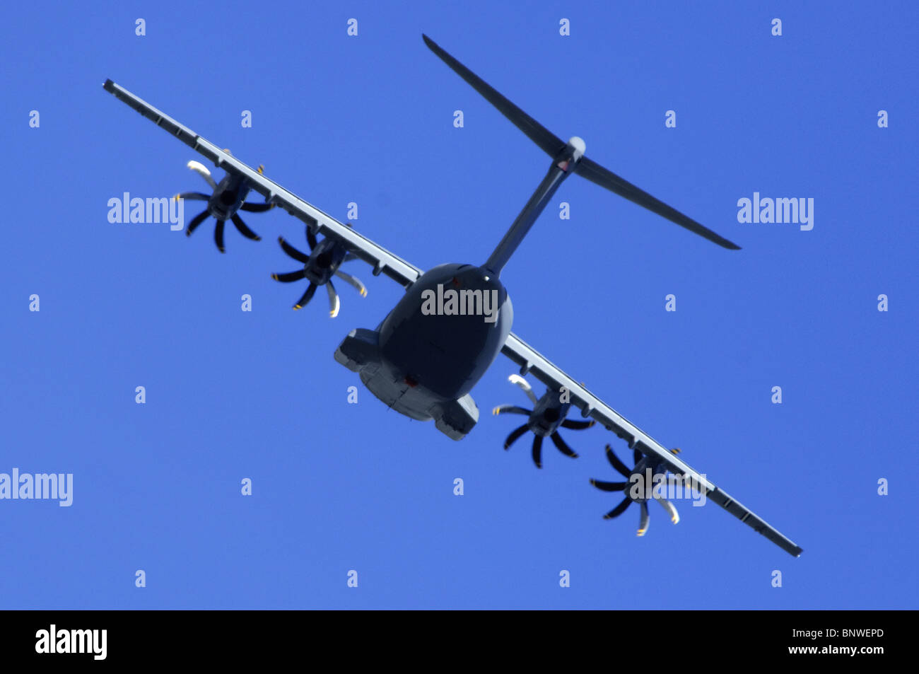 Airbus Military A400M second prototype, Grizzly 2, baking away after take off at Farnborough Airshow 2010 - Stock Image