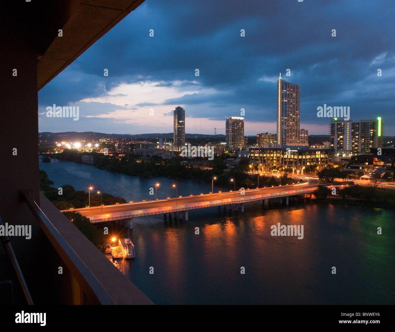 City skyline at night of Austin, Texas, USA Stock Photo