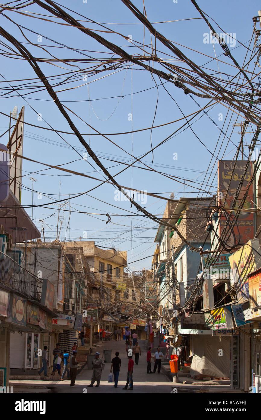Utility lines in Dohuk, Iraq - Stock Image