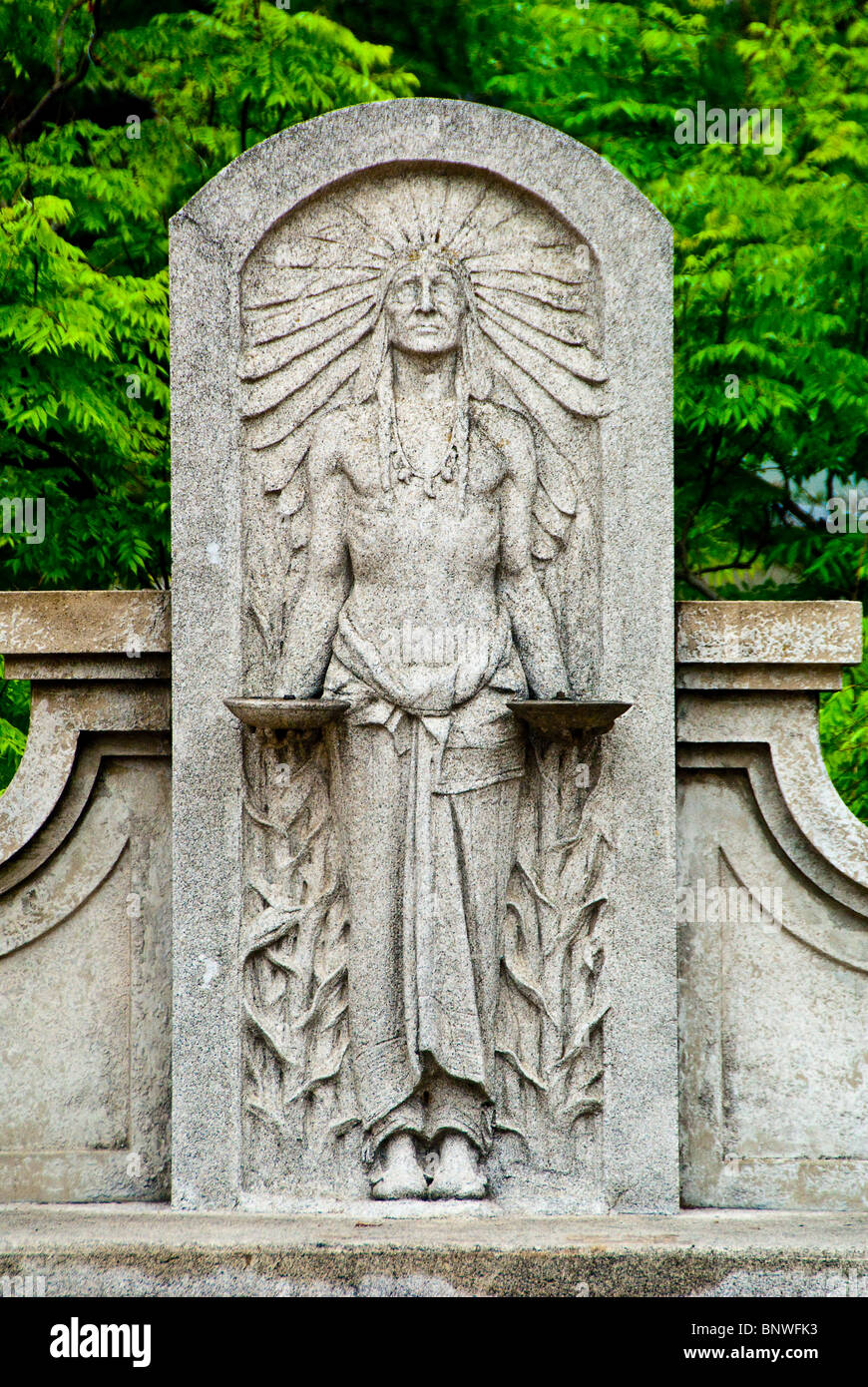 Comanche Indian bas-relief figure, once a fountain, by Waldine Tauch on Commerce Street Bridge, San Antonio, Texas, - Stock Image