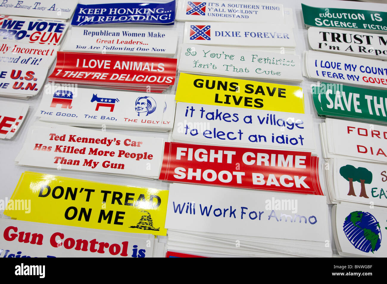 Bumper stickers showing conservative political ideas on display at the trade show at the Texas Republican Convention - Stock Image