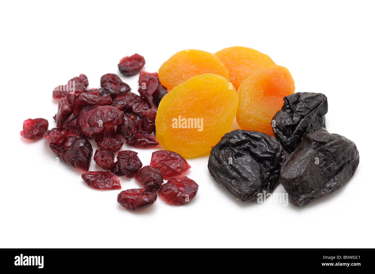 Dried Fruit (Cranberries, Apricots, Prunes) - Stock Image