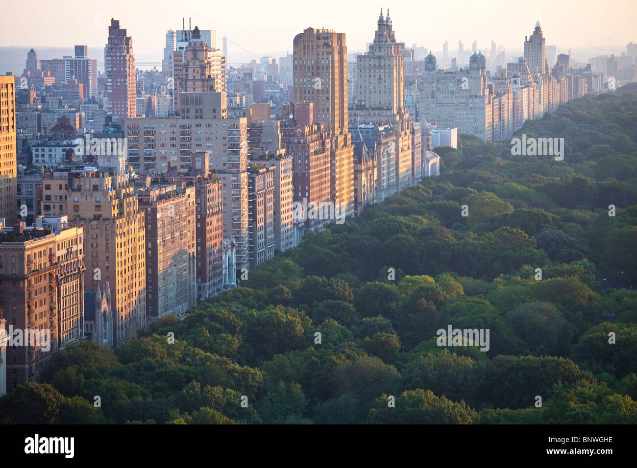 Central Park West and Central Park, New York City - Stock Image