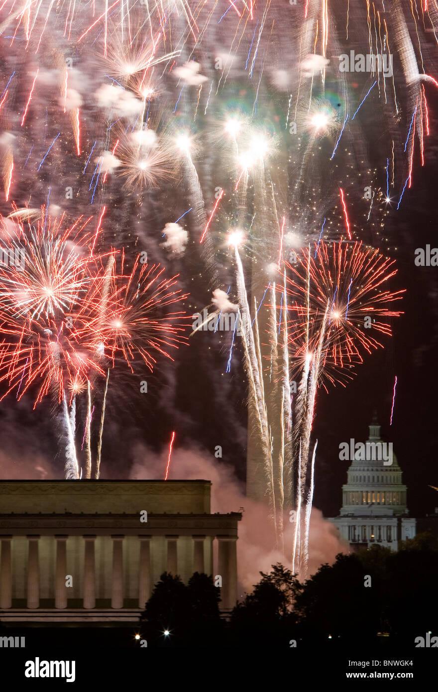 Fourth of July fireworks in Washington, DC.  Stock Photo