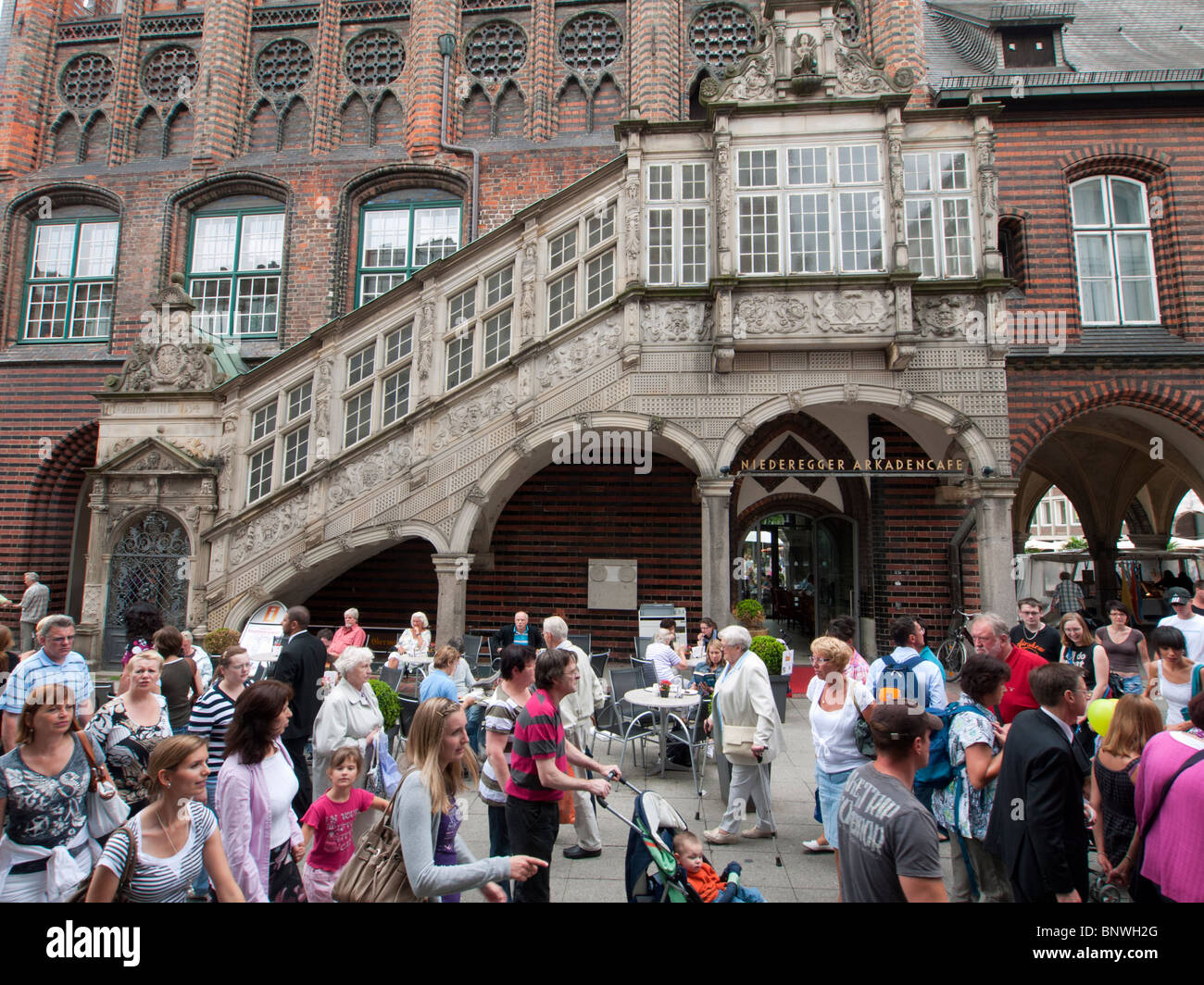 View of historic Rathaustreppe in city of Lubeck in Germany - Stock Image