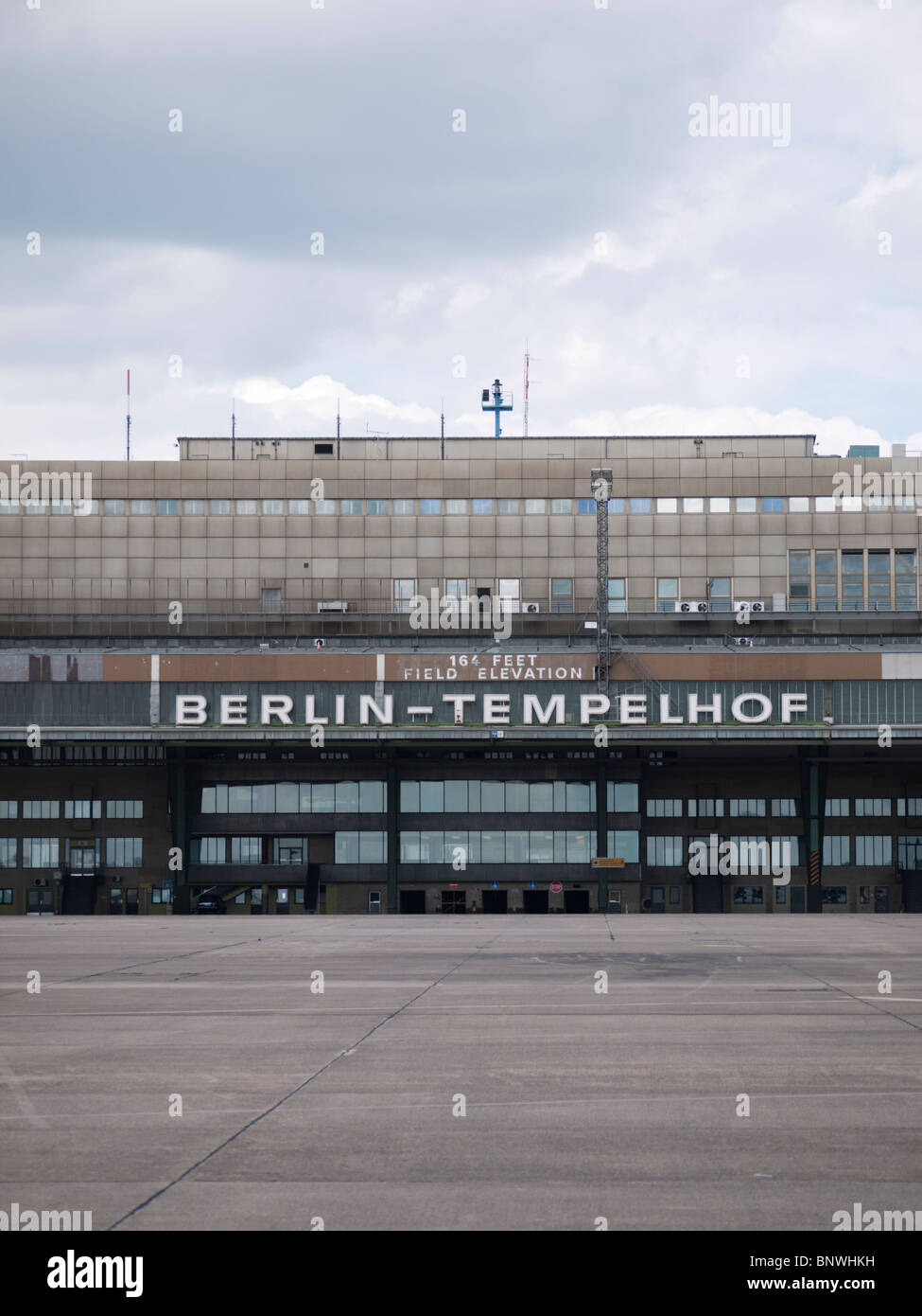 Terminal building at new city public Tempelhofer Park on site of famous former Tempelhof Airport in Berlin Germany - Stock Image
