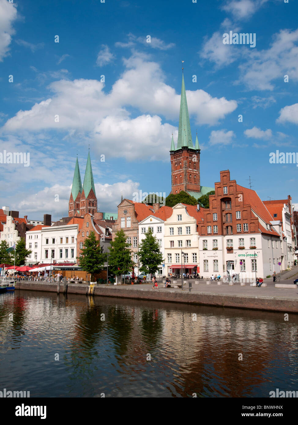 View of historic city of Lubeck in Germany - Stock Image