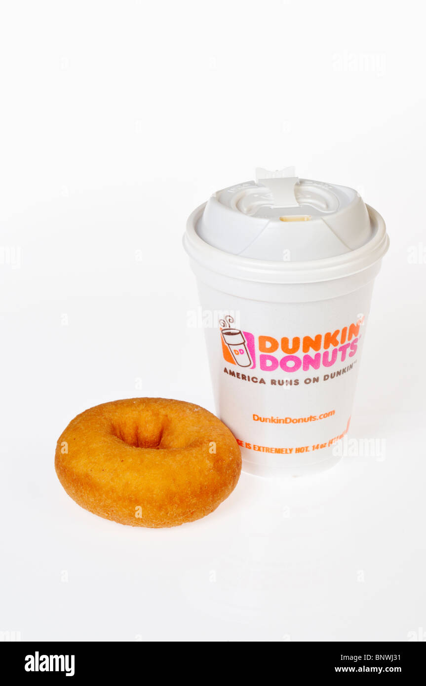 A cup of Dunkin Donuts Coffee with a plain donut on white background, cutout. - Stock Image