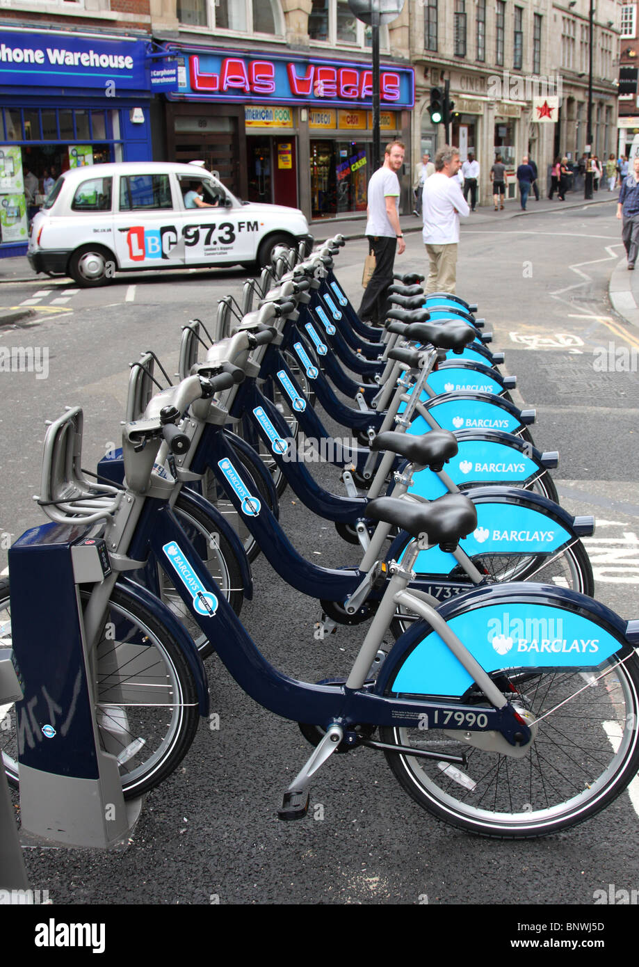 Transport for London (TFL) & Barclays cycle hire, Wardour Street, Soho, London, England, U.K. - Stock Image