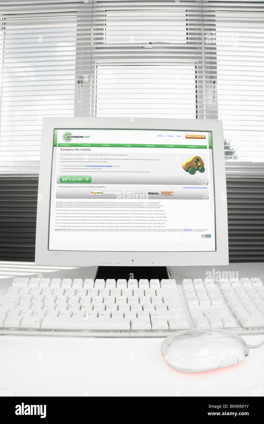 Home Computer With Gocompare Car Insurance Internet Page On The