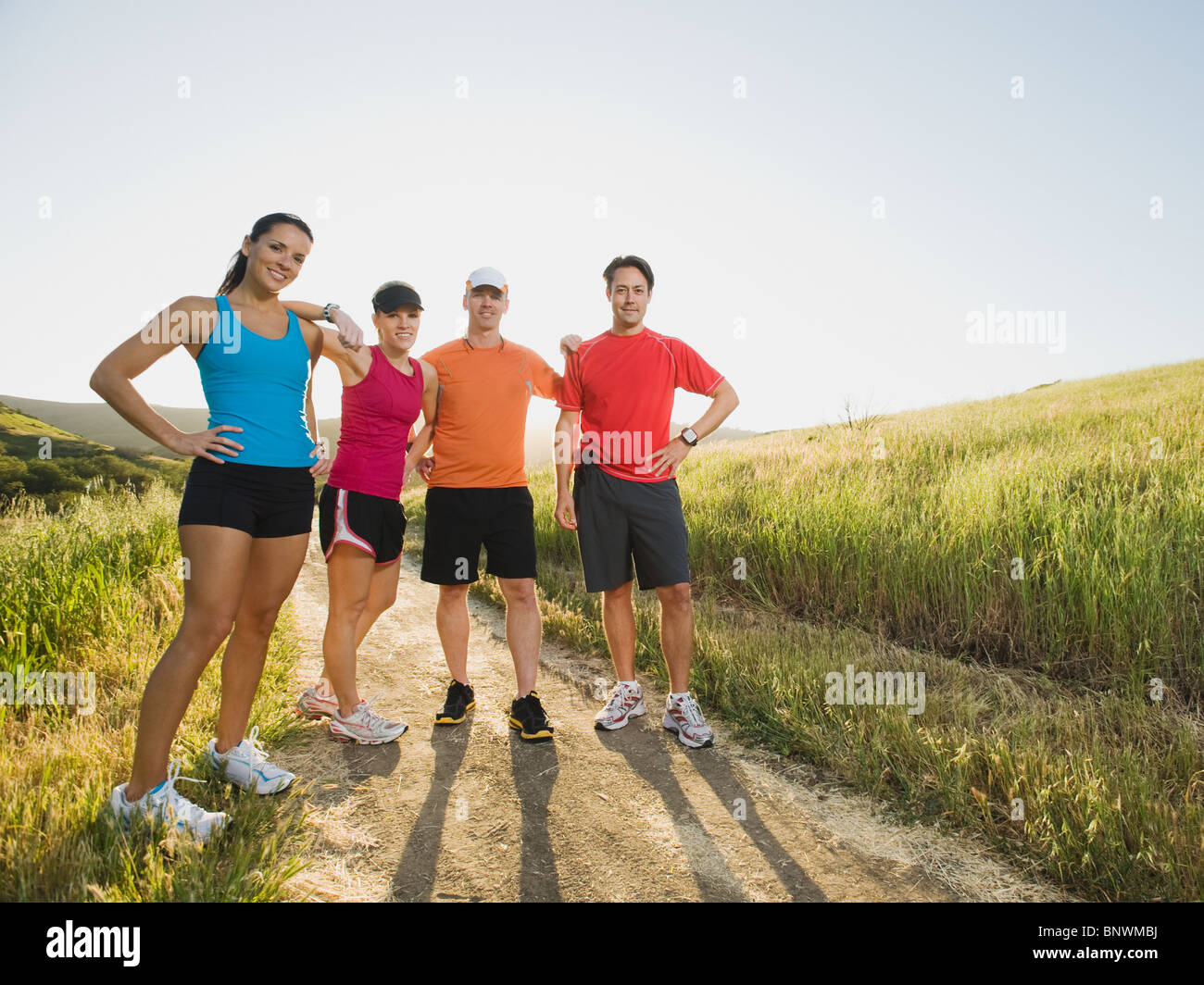 Trail runners taking a break - Stock Image