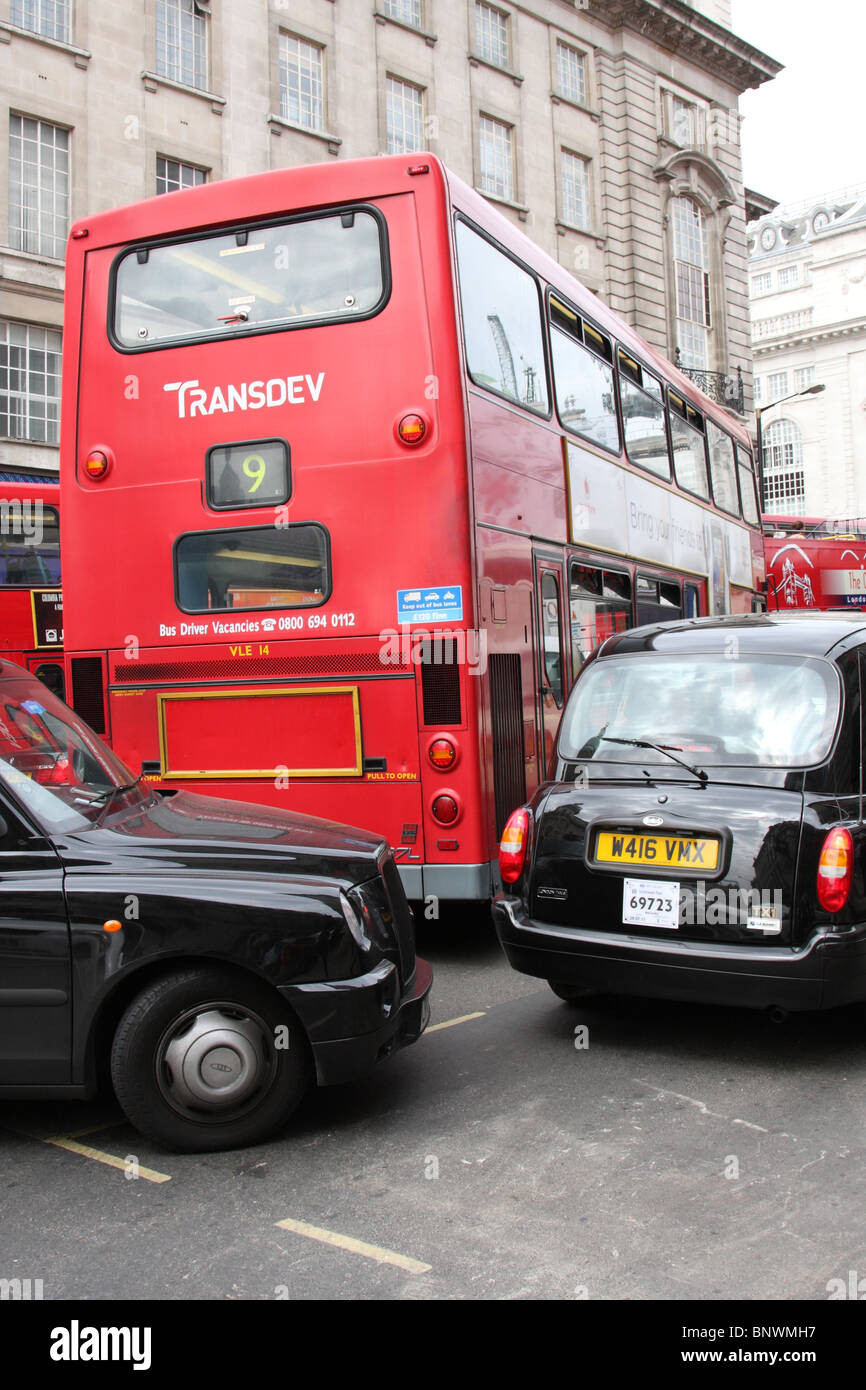 Traffic congestion on a London street. - Stock Image