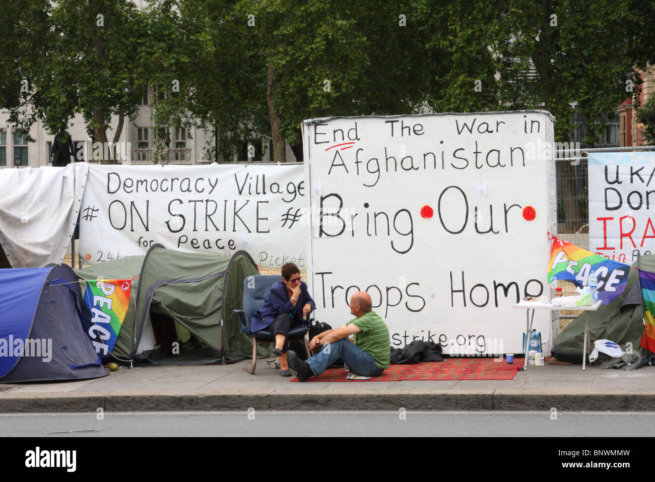 An anti Afghanistan war protest at the peace camp in Parliament Square, Westminster, London, England, U.K. Stock Photo