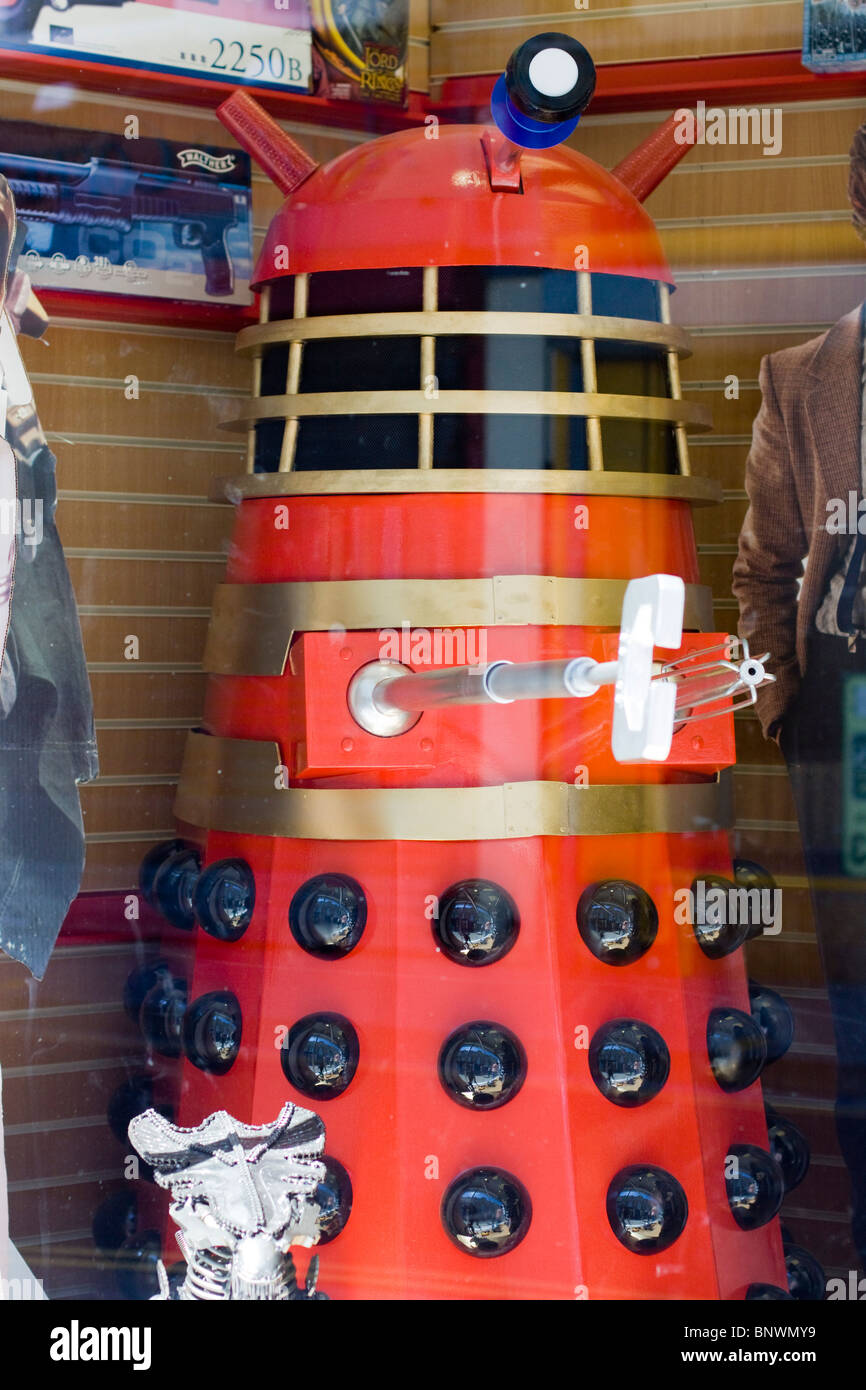 Doctor Who Characters in a Shop Window in Weston - Stock Image