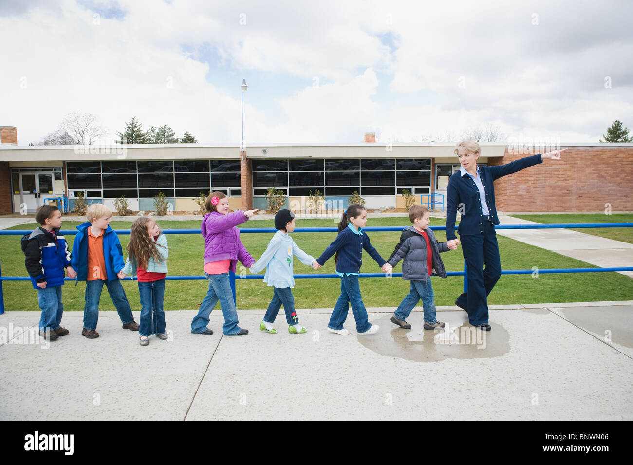 Elementary school students on a field trip Stock Photo