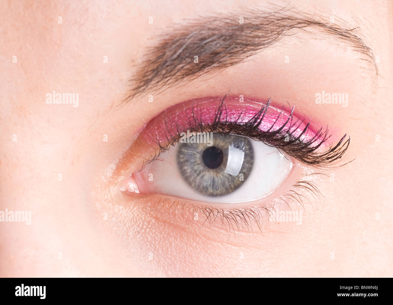 Eye Closeup Lashes Eyelids Pupil Iris - Stock Image