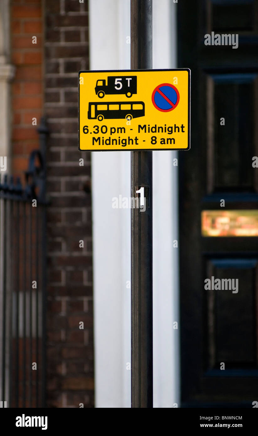 Carriageway usage restrictions sign, London, United Kingdom - Stock Image