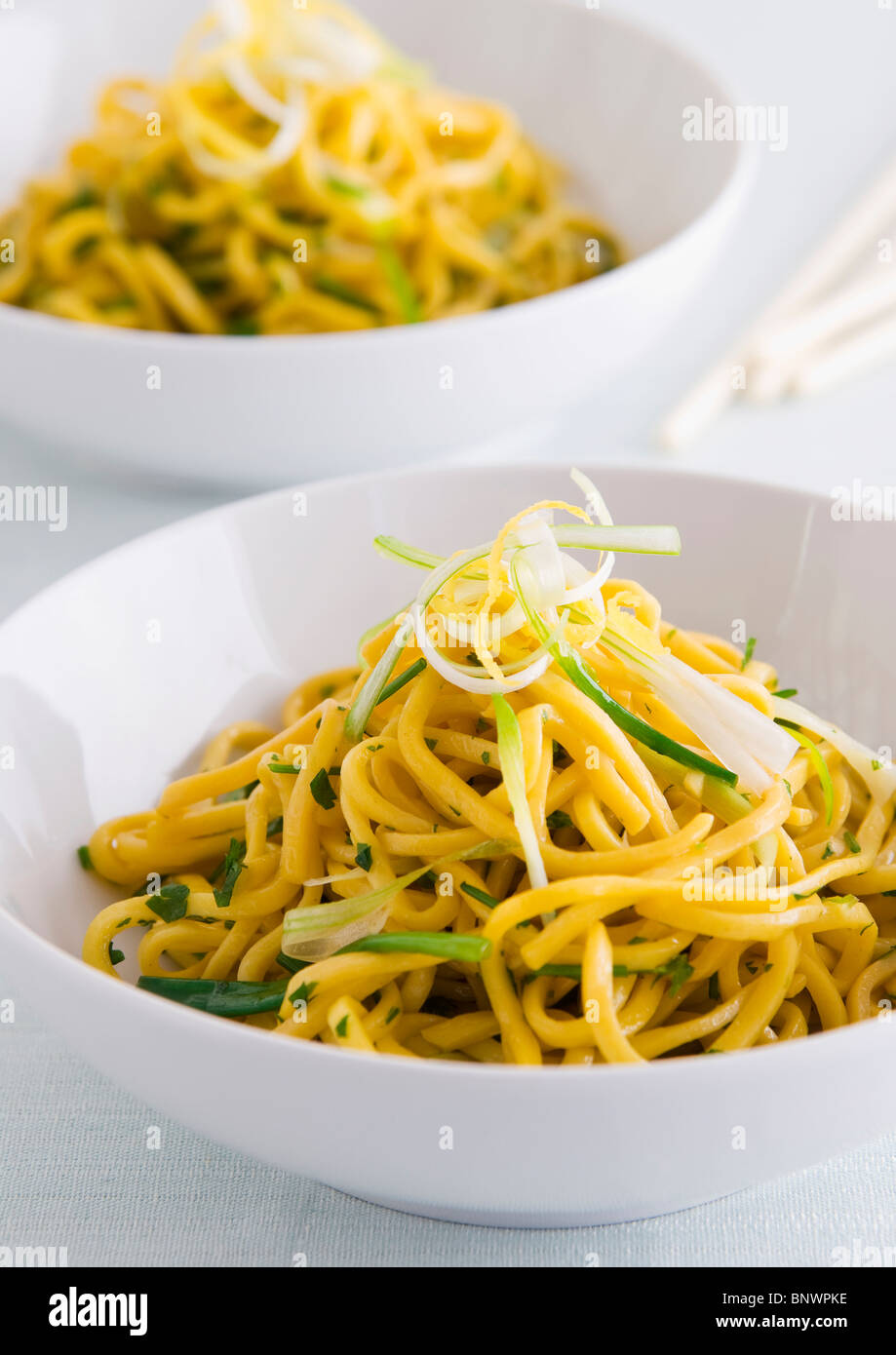 Plain egg noodles - Stock Image