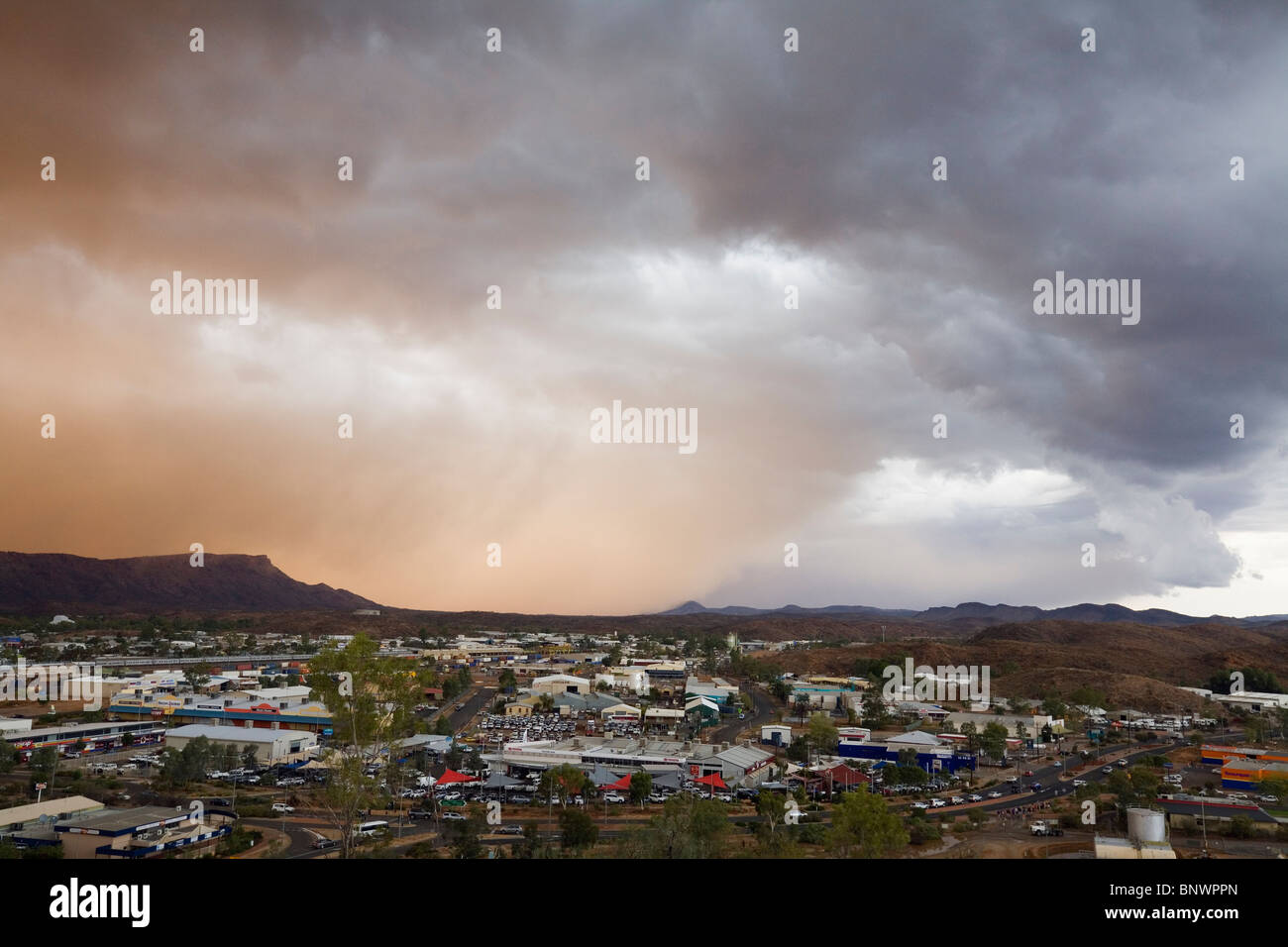 A dust storm approaches the outback town of Alice Springs, Northern Territory, AUSTRALIA. - Stock Image