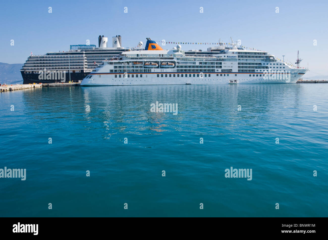 Tourist cruise ships in harbour on the Greek island of Corfu Greece GR Stock Photo