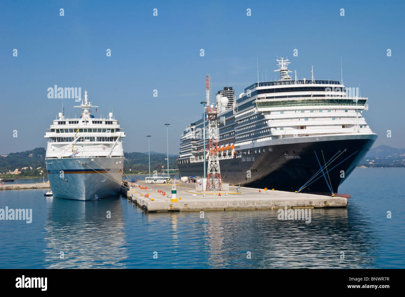 Tourist cruise ships in harbour on the Greek island of Corfu Greece GR - Stock Image