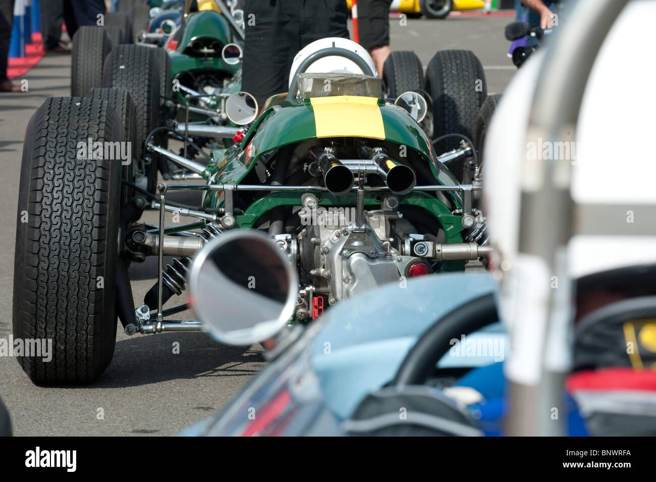 Formula One Lotus 25 in paddock, 2010 Silverstone Classic, England, UK Stock Photo