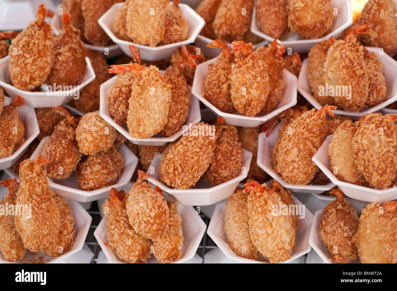 Fried shrimp for sale at the Chatuchak Market, Bangkok, Thailand, Asia - Stock Image