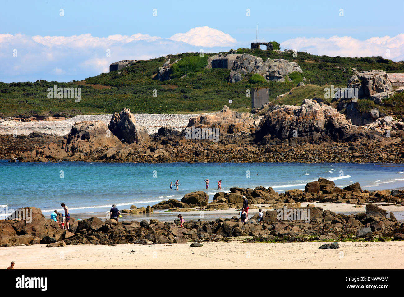 Rough coastline, rocks, north coast of Guernsey, Channel Islands, UK, Europe Stock Photo