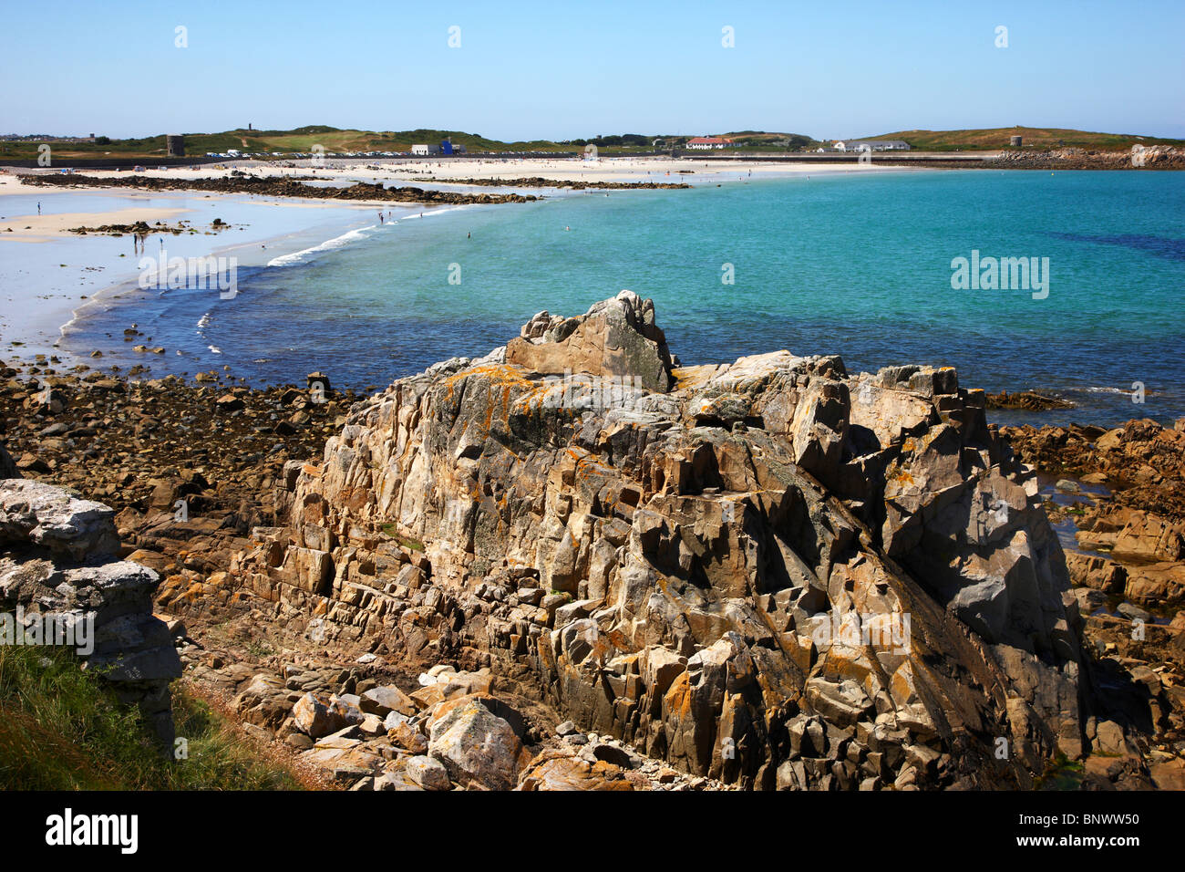 Rough coastline, rocks, north coast of Guernsey, Channel Islands, UK, Europe Stock Photo
