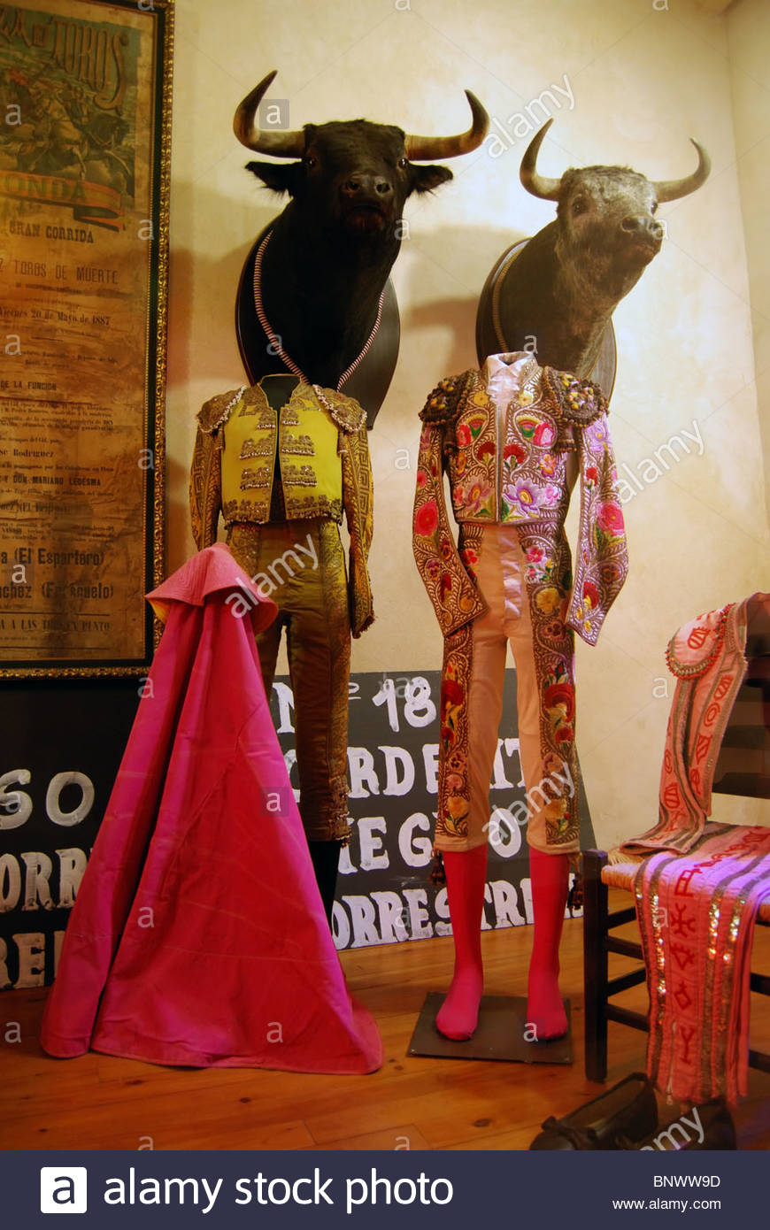 Matador costumes in bullfighting museum Ronda Malaga Province Andalucia Spain Western Europe. & Matador costumes in bullfighting museum Ronda Malaga Province ...