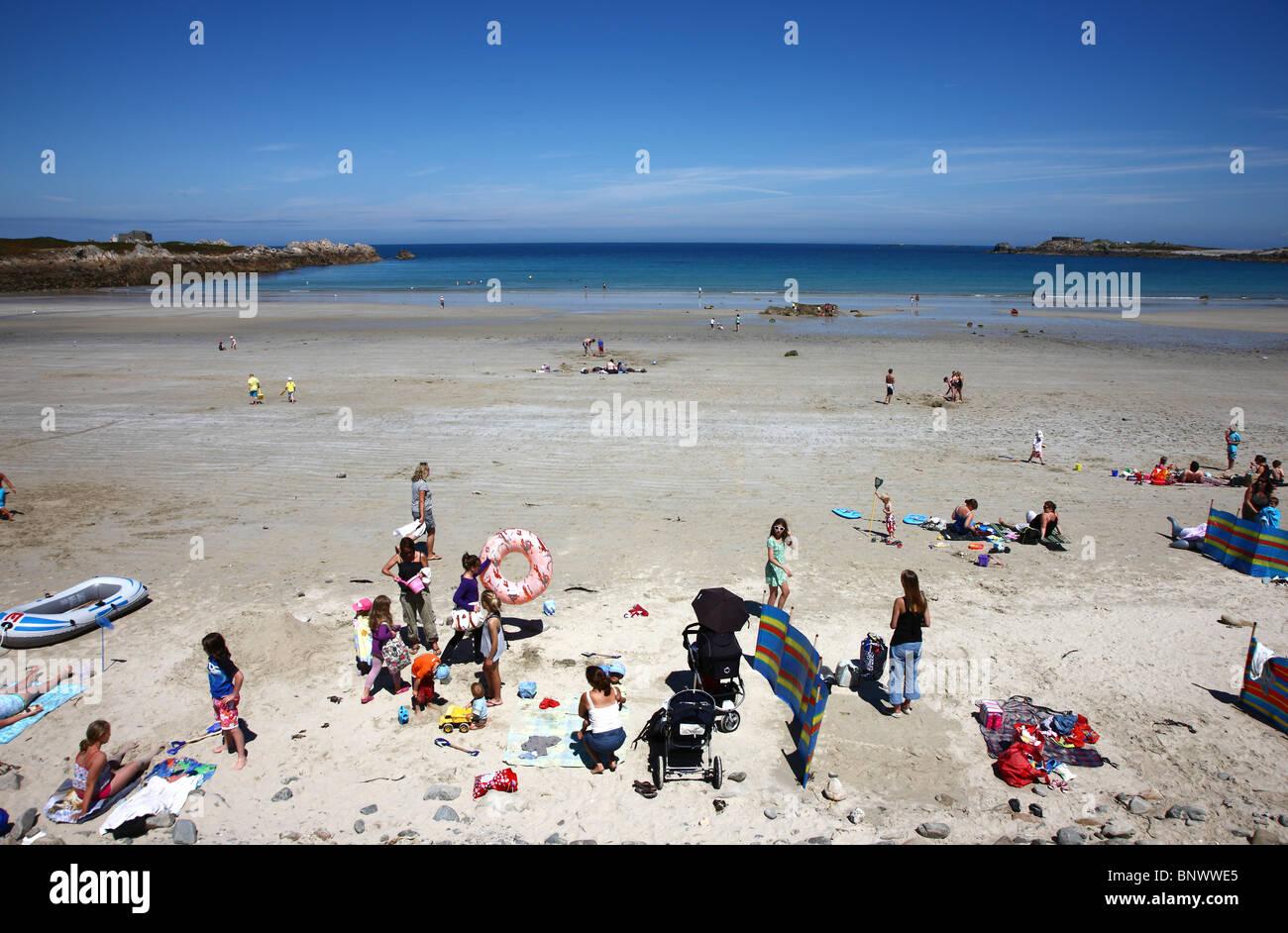 Pembroke Bay , beach, north coast, Guernsey, Channel Islands, UK, Europe, Stock Photo