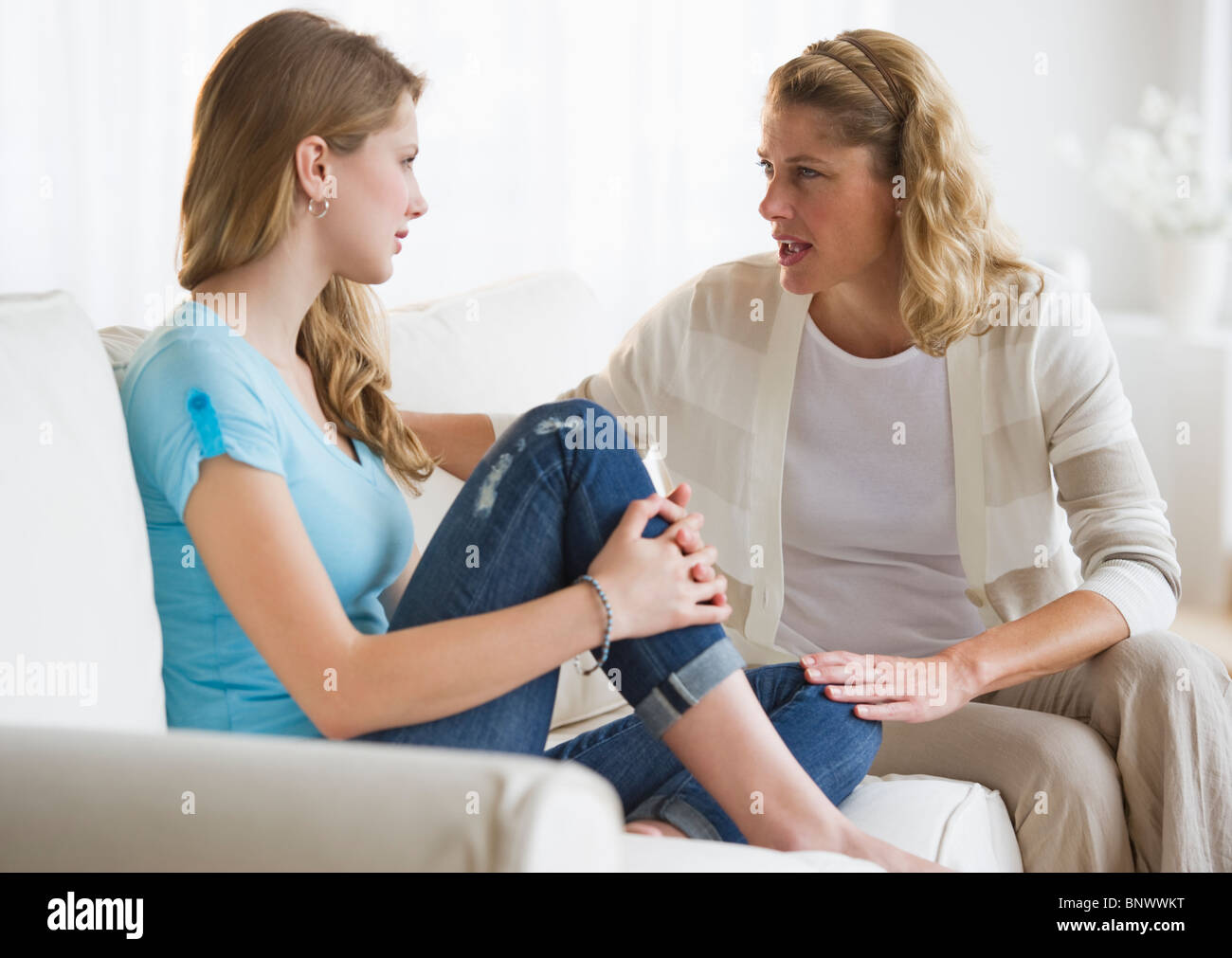 Mother and daughter having an argument - Stock Image