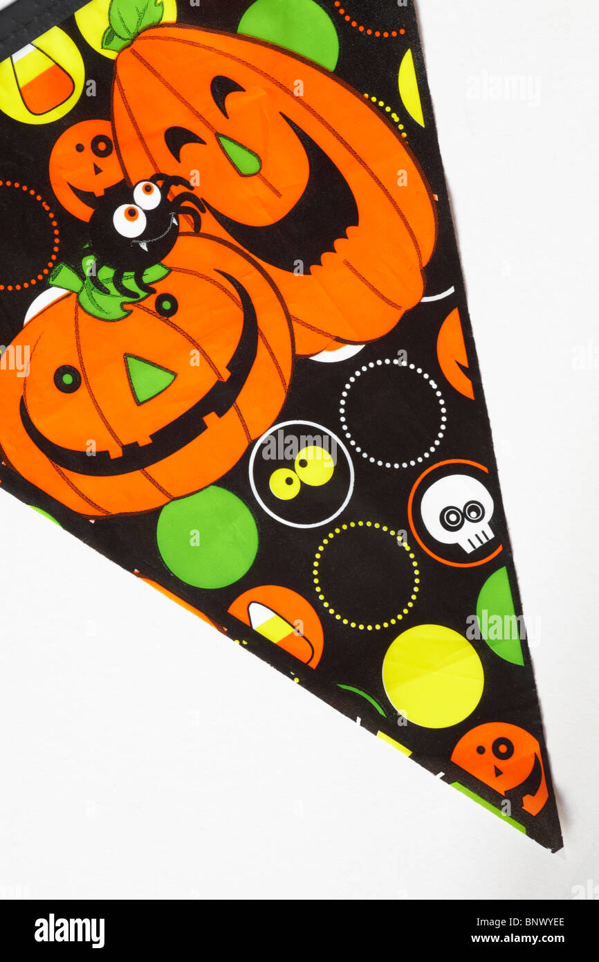 close up detail of bunting for Halloween - Stock Image