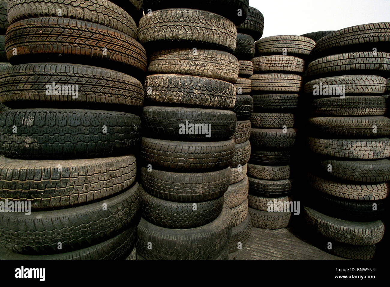 Universal Auctions site at Sandwich,Kent. Thousands of Tyres are lined up to sell by the Salvage Dealers, Universal - Stock Image