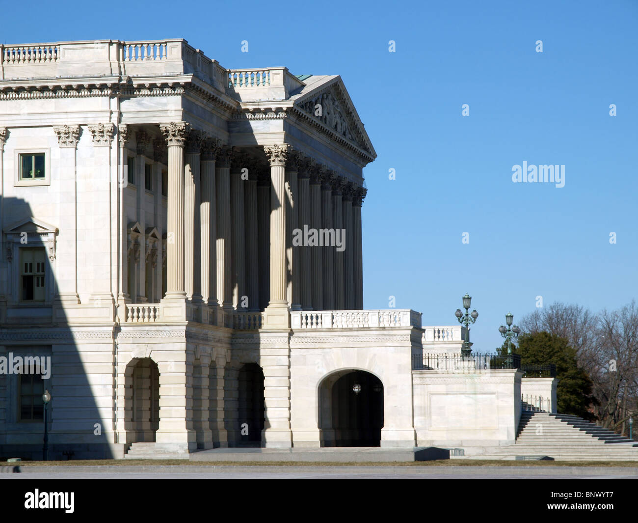 Profile of the United States Supreme Court building in Washington DC. - Stock Image