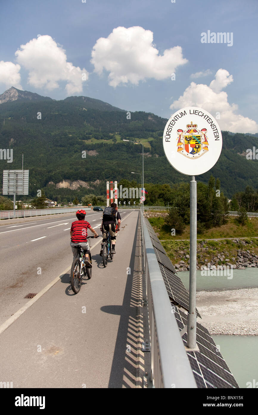 The border of the Principality of Liechtenstein - Stock Image