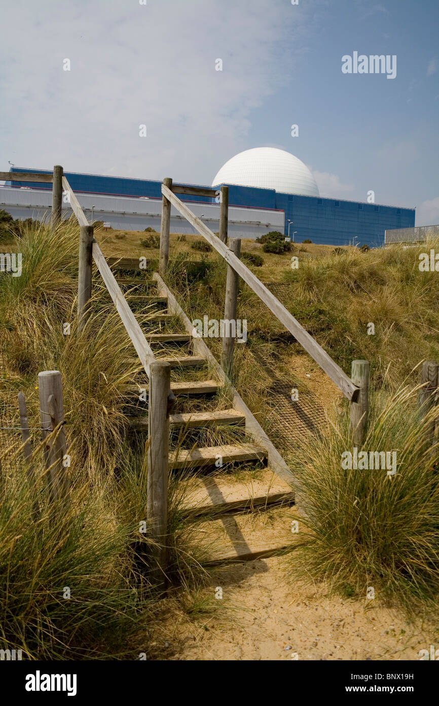 Wooden steps leading from the beach to Sizewell B nuclear power station. - Stock Image