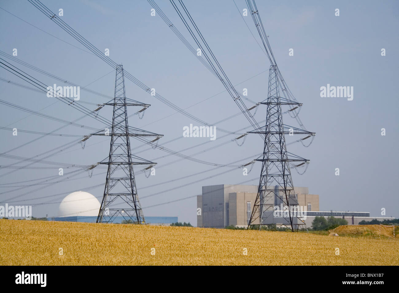 Electric pylons running to Sizewell nuclear power station in Suffolk. - Stock Image