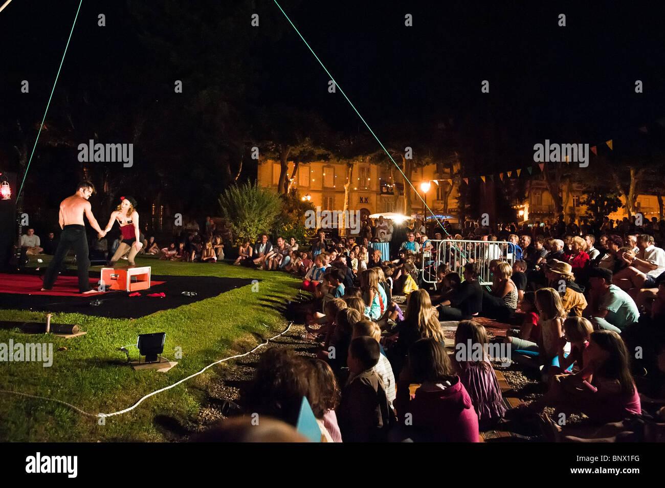 Outdoor entertainment in Salies de Béarn , Pyrénées Atlantiques , Aquitania , France Stock Photo
