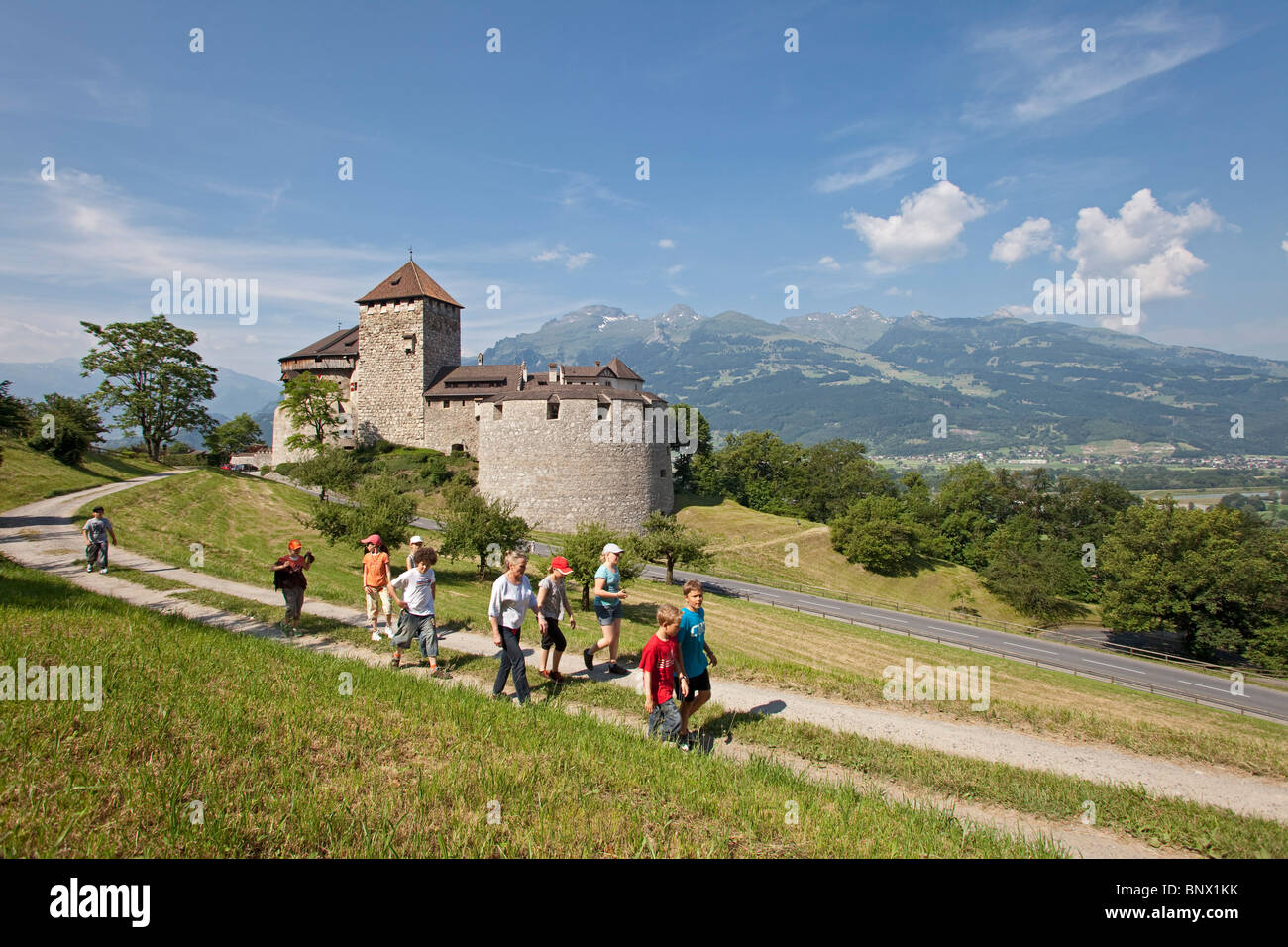 The castle of Vaduz, residence of the Prince of Liechtenstein - Stock Image