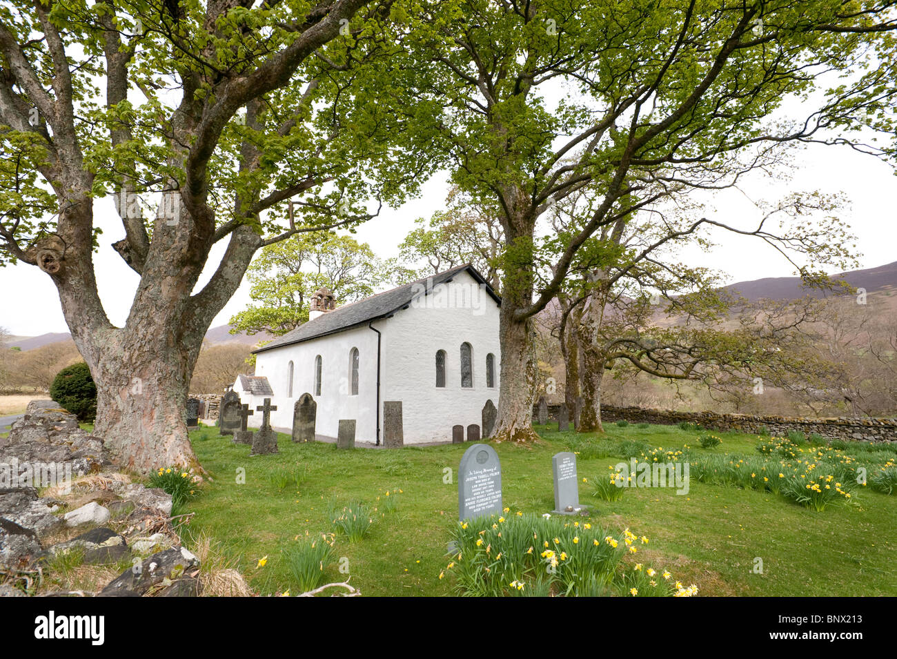 The church at Newlands,  Cumbria. Inspired poem 'To May' by lakeland poet Wordsworth also illustrated by - Stock Image
