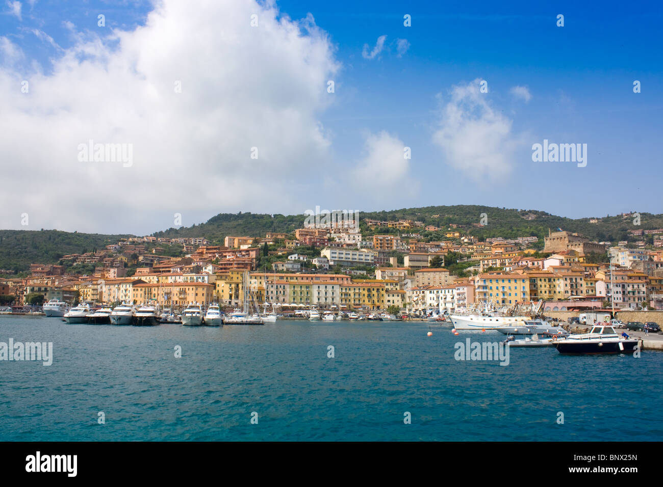 Porto Santo Stefano, Tuscany, Italy - View From The Sea. - Stock Image