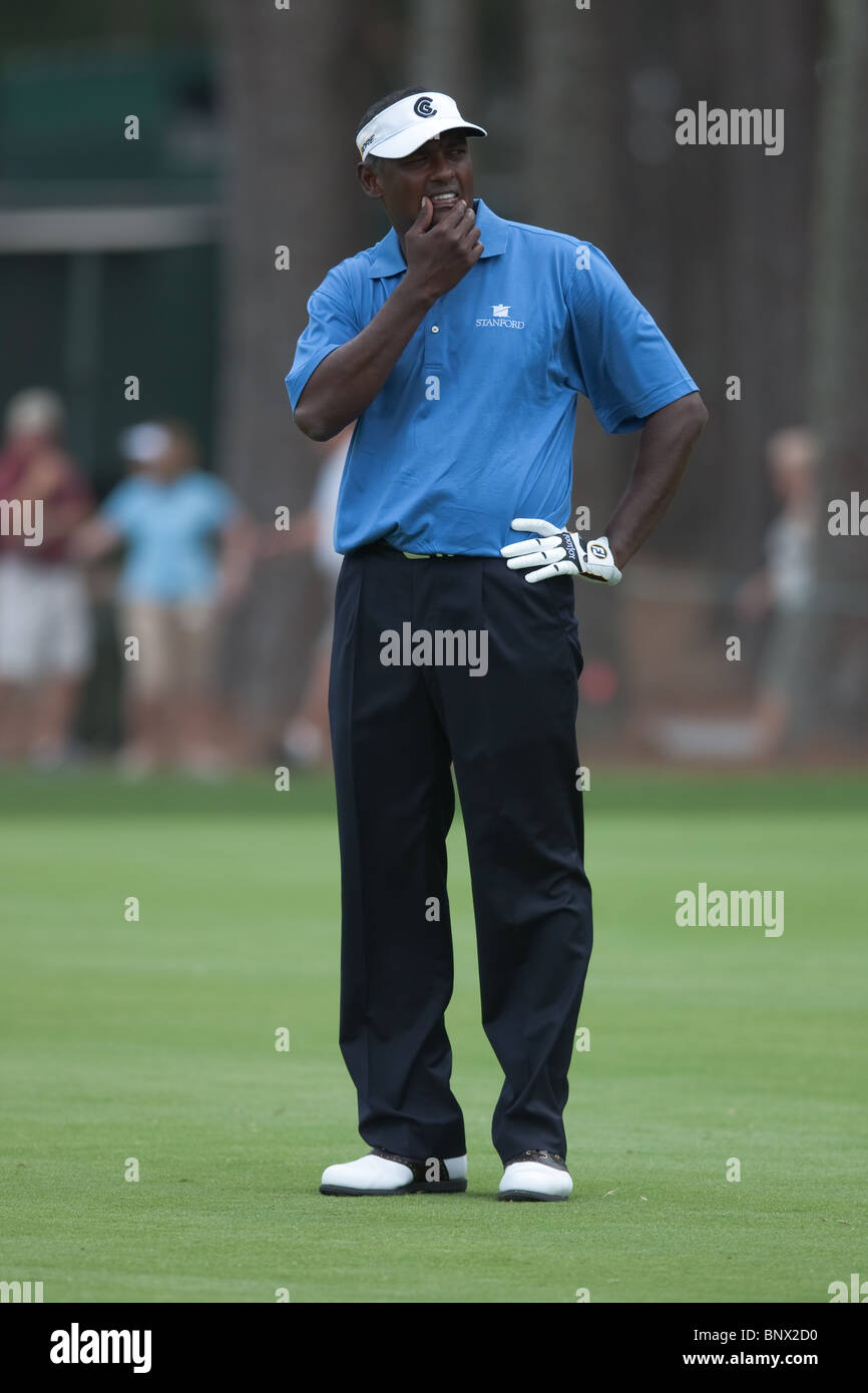 Vijay Singh ponders his approach shot to the 16th green during a practice round of the 2009 Players Championship. - Stock Image