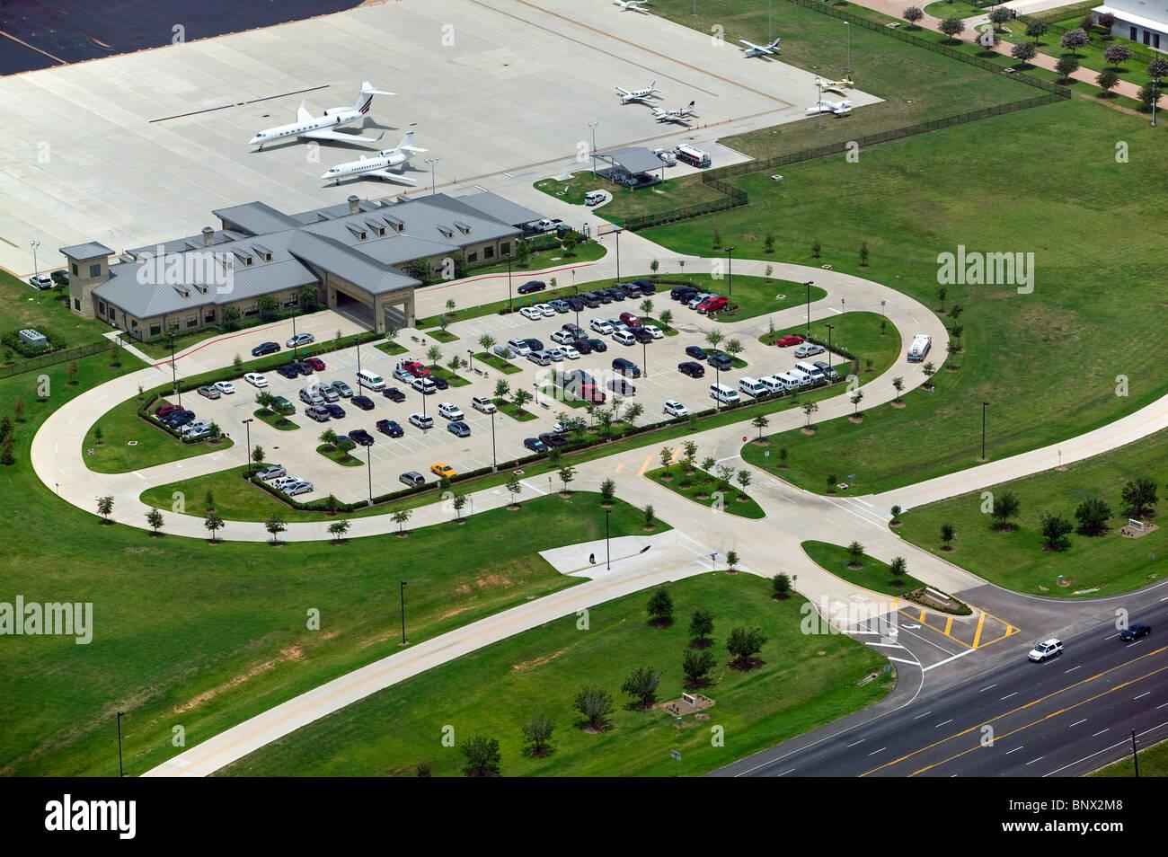 aerial view above airport terminal Sugar Land Texas Stock ...