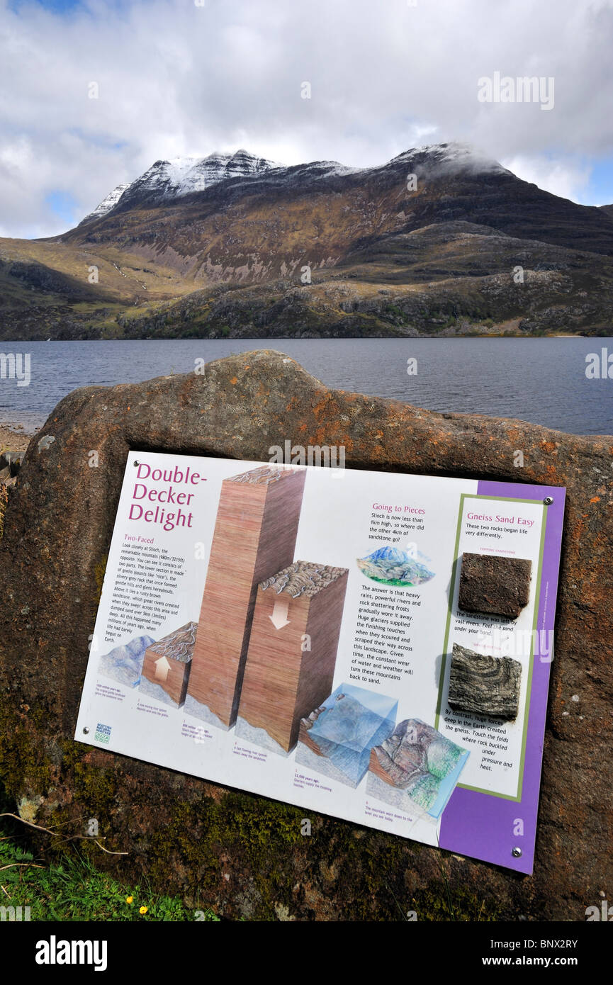Loch Maree and information panel about the mountain Slioch covered in snow in spring in Wester Ross, Highlands, - Stock Image