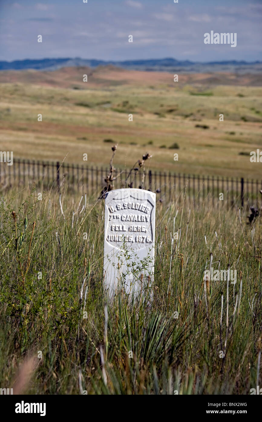 Marker on the spots where an American soldier was killed at Little Big Horn Battlefield National Monument, Montana. Stock Photo