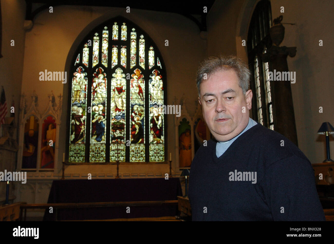 The Rector, The Reverend Michael Trodden, at St Andrews, Ampthill, Bedfordshire, UK - Stock Image